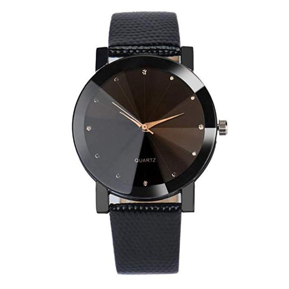 Relojes de Cuarzo de Las Mujeres Relojes análogos de la liquidación de Las señoras Relojes Femeninos Relojes de Cuero de la muñeca (Negro): Amazon.es: ...