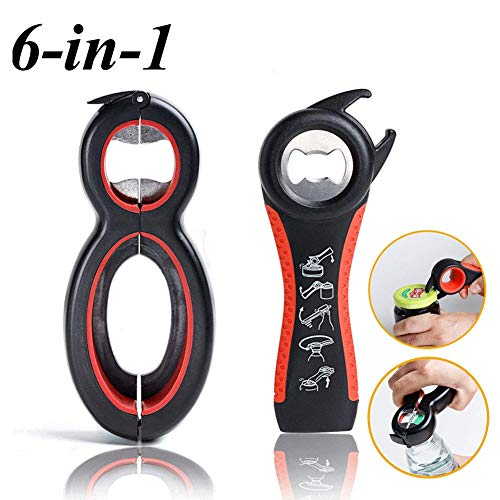 - 2 Pack Multi Bottle Opener, 6 in 1 Magic Can Opener, 5 in 1 Jar Opener Bottle Opener Kitchen Tool for Weak Hand Elderly and Arthritis