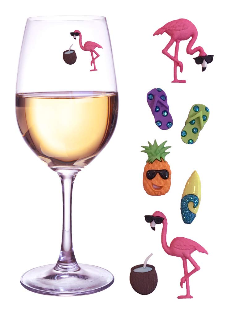Flamingo Beach Wine Glass Charms - Set of 7 Magnetic Markers or Tags for Stemless or Regular Glassware by Simply Charmed by Simply Charmed