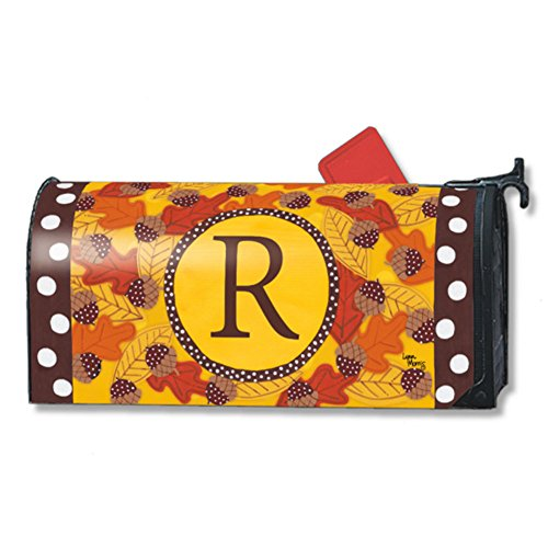 Fall Follies Monogram R Magnetic Mailbox Cover Autumn Leaves Acorns Letter (Leaves Magnetic Mailbox Cover)