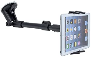 Car Mount for Tablets, Digitl Arm Extension Windshield Tablet Car Mount for iPad Mini, iPad Air, iPad PRO, Galaxy Tab A E S4 S3 S5e (7-13) Screens w/AntiVibration Swivel Holder (with or without case)