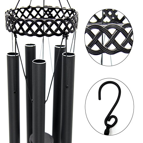 "Agirlgle Wind Chimes Outdoor Large Black 30""Windchimes Garden Amazing Grace with 5 Aluminum Alloy Tubes Tuned Memorial Wind Chimes Indoor, Perfect Decoration for Your own Patio, Porch, Garden, or by Agirlgle (Image #5)"
