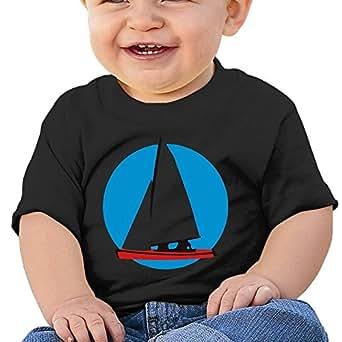 b8b04610b YUEskd White Sailboat Baby Boys Girls Summer Short Sleeve Crew Neck Tee  Shirt for 6-