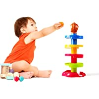 WP 5 Layer Ball Drop and Roll Swirling Tower for Baby and Toddler Development Educational Toys   Stack, Drop and Go Ball Ramp Toy Set Includes 3 Spinning Acrylic Activity Balls with Colorful Beads