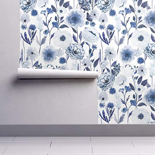 (Peel-and-Stick Removable Wallpaper - Blue Floral Floral Indigo White by Indybloomdesign - 24in x 60in Woven Textured Peel-and-Stick Removable Wallpaper Roll)