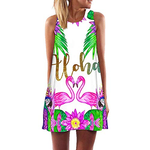 Plus S-3XL Less Beach Boho Dress Flamingo Floral Print Clothes Short Dresses Casual,Small,Yh02410 -