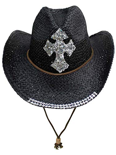- Black Straw Cowboy Hat with Sequin Cross