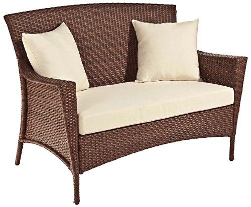 Panama Jack PJO-7001-ATQ-LS Key Biscayne Woven Loveseat with Cushions, Sunbrella Spectrum Almond ()