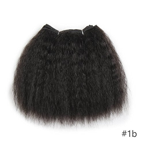 Kinky Straight Hair Bundles For African Black Women 8Inch 14Inch Short Synthetic Hair Weave Kanekalon Hair Wefts 1Piece #1B 8inches ()