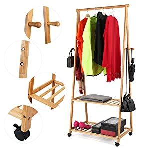 HOMFA Bamboo Clothes Rack on Wheels Rolling Garment Rack with 4 Coat Hooks and 2-Tire Storage Box Shelves