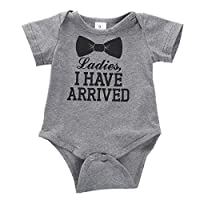 Newborn Baby Boys Girls Bowtie Short Sleeve Romper Bodysuit Playsuit Outfits ...