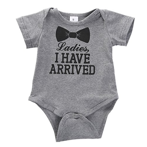 Newborn Baby Boys Girls Bowtie Short Sleeve Romper Bodysuit Playsuit Outfits (0-3 Months, Gray)
