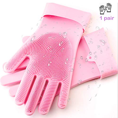 Silicone Cleaning Gloves Dishwashing Scrubber, Heat Resistant Gloves BBQ Kitchen Oven Mitts, Long Waterproof Non-Slip Potholder for Barbecue, Cooking, Washing Dish and Kitchen Baking (pink)