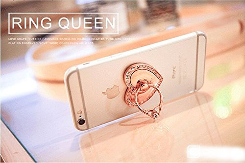 Universal Phone Ring Bracket holder ,UCLL Love Heart Diamond Shape Finger Grip Stand Holder Ring Car Mount Phone Ring Grip Smartphone Ring stent Tablet Rose Gold by UCLL (Image #4)