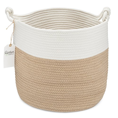 Parker Baby Nursery Storage Basket - Rope Storage Bin and Organizer for Laundry, Toys and Baby - Two Wicker Tone