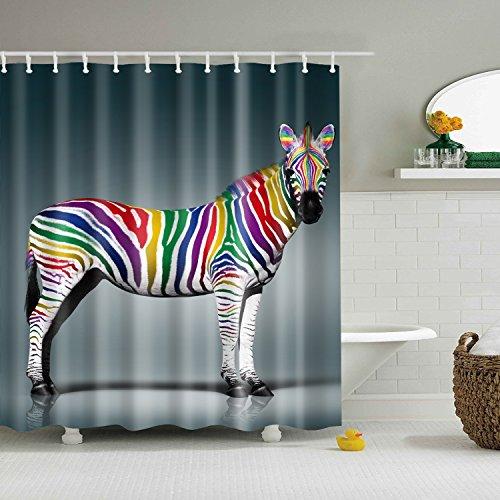 blue zebra print shower curtain - 4