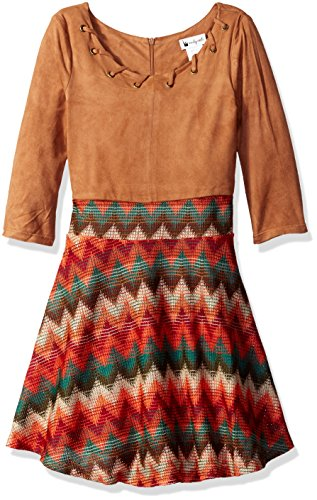 Emily West Big Girls' Suede Bodice Dress with Crochet Novelty Skirt and (Brown Crochet)