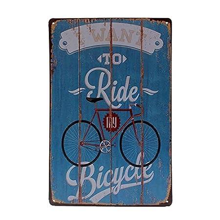 WHDIL Bicicleta Cartel de Chapa Cartel de Placa de Metal ...