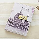 JunShop A5 PU Leather Cover Retro Password With Lock Diary Combination Lock Journal Diary Students Office Notebook Notepad (Style 3)