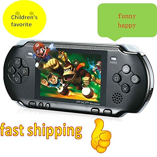 ft 16 Bit Handheld Game Console Video Games 150 Games Retro MD Paly Games PXP3 (Color: Black) ()