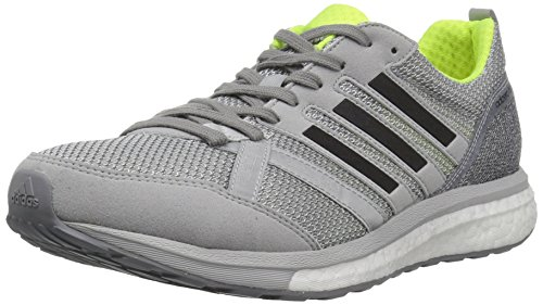 adidas Men's Adizero Tempo 9 m Running Shoe, Grey/Black/Solar Yellow, 9.5 M US