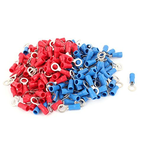 DealMux 216 Pcs RV1.25-5 AWG 22-16 Red and Blue Sleeve Pre Insulated Ring Terminals Connector DLM-B01JRA5JUE