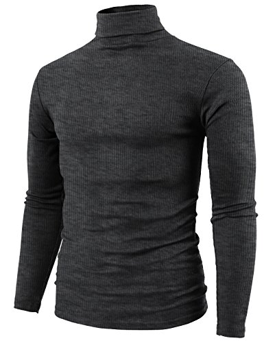 (H2H Mens Fashion Tight Fit Lightweight Turtle-Neck T-Shirt Charcoal US M/Asia L (KMTTL0410))