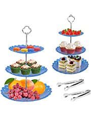 2 Set 3-Tiers Cupcake Holder Stand Dessert Display Stand, FLMOUTN Tiered Serving Trays Tower with 2Pcs Stainless Steel Serving Tongs for Baby Shower, Tea Party, Wedding Home Decor
