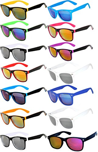 Wholesale Bulk Colored Mirrored Lens Sunglasses 14 pairs - Sun Wholesale Glasses Fashion