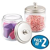 mDesign Bathroom Vanity Glass Canister Jar for Cotton Balls, Swabs, Cosmetic Pads - Pack of 2, Clear/Satin