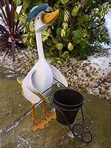 Adorno en forma de pato de metal con carretilla de macetero para jardín patio. Animal, granja, maceta, regalo.