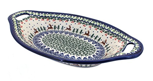 Blue Rose Polish Pottery Reindeer Delight Bread Tray with Handles