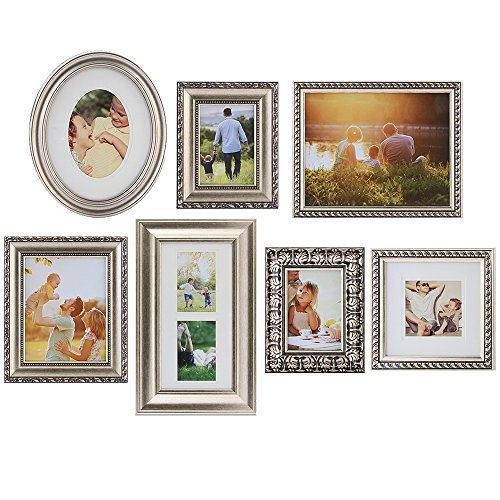 Gallery Perfect 7 Piece Champagne Photo Frame Wall Gallery K