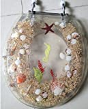 Heavy Duty Toilet Seat - Seahorse and Seashell Design - Standard Size - Clear
