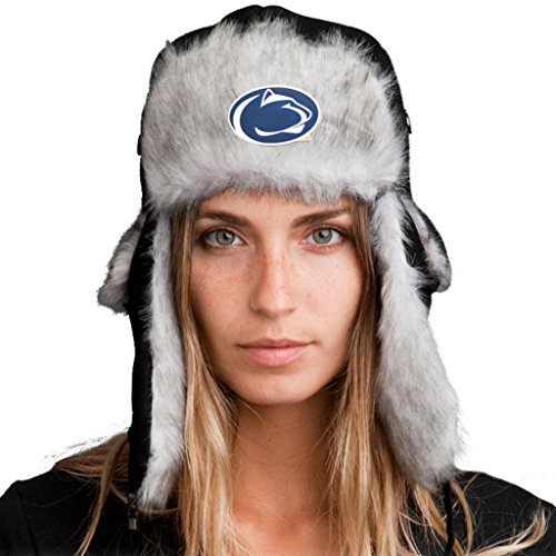 Trapper Hat + Licensed Penn State Nittany Lions Pin Included XXL 64cm Black/Gray