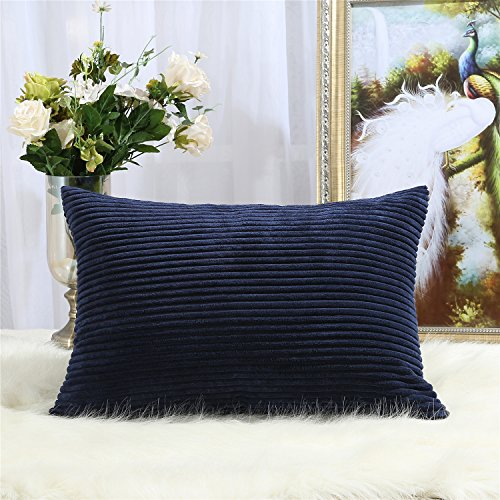 12x12 Corduroy - Miaote Decorative Striped Corduroy Throw Pillow Covers Cases for Couch Bed Sofa,Supersoft Velvet Cushion Covers for Baby, 12 X 20 Inches,Navy Blue