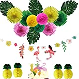 Party Decorations 15Pcs/Set with Flamingo Garlands Palm Leaves Cake Topper for Beach Summer Tropical Party Supplies
