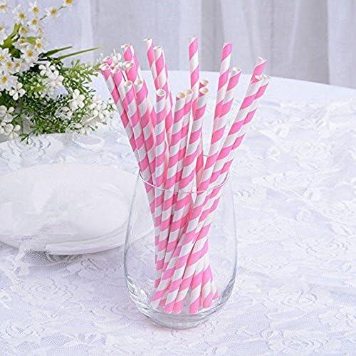Mariages Paquet DE 25 Decoration de Table SODIAL Pailles a Papier Raye Les Fetes Rose