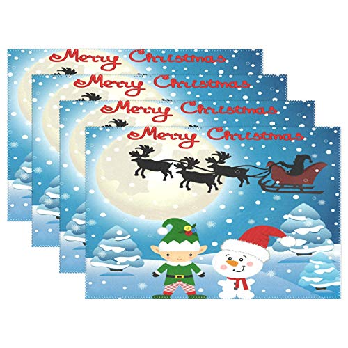 Christmas Elf Reindeer and Santa Placemats Set of