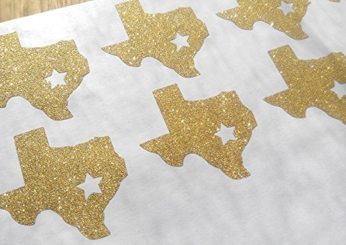 20 Texas state shape stickers / glitter wedding décor / Texas labels / envelope seals / wall decal / gold or silver party décor / removable wall stickers (Texas Glitter)