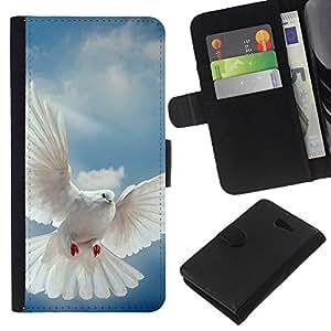 - SKY GOD BIRD HOPE FLYING WINGS DOVE - - Prima caja de la PU billetera de cuero con ranuras para tarjetas, efectivo desmontable correa para l Funny House FOR Sony Xperia M2