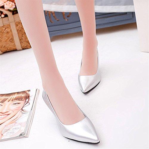 LIVY 2017 del párrafo del verano señaló los zapatos de la boca baja de los zapatos de las mujeres solteras 6cm finos con la tendencia de los zapatos de tacón alto Plata