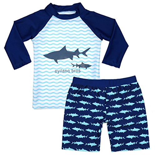Boys Two Piece Rash Guard Swimsuits Kids Long Sleeve Sunsuit Swimwear Sets - 2 Rash Piece Guard