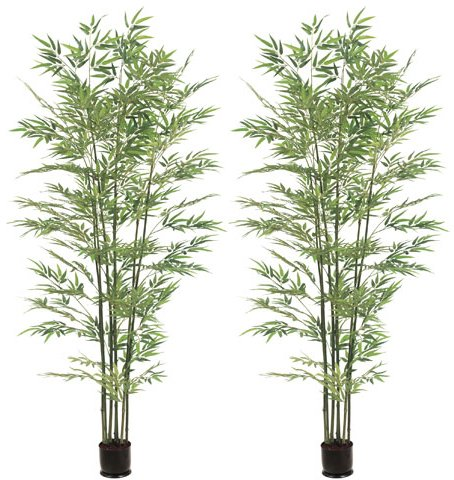 TWO Pre-potted 7' Artificial Bamboo Trees with Real Bamboo Trunks