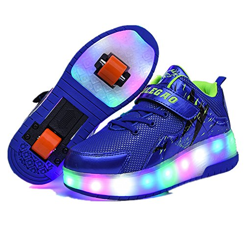 YSNJL Boys Girls Light up Roller Shoes with Wheels Skate Sneakers for Kids Youth-(Double-Blue-30/12 M US Little -