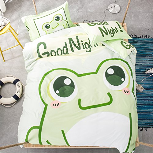 Mumgo Home Bedding Sets for Kids 100% Cotton Cute Cartoon Animal Good Night Print Duvet Cover Set Full/Queen Size 4 Piece -Not Include Comforter (Frog) by Mumgo