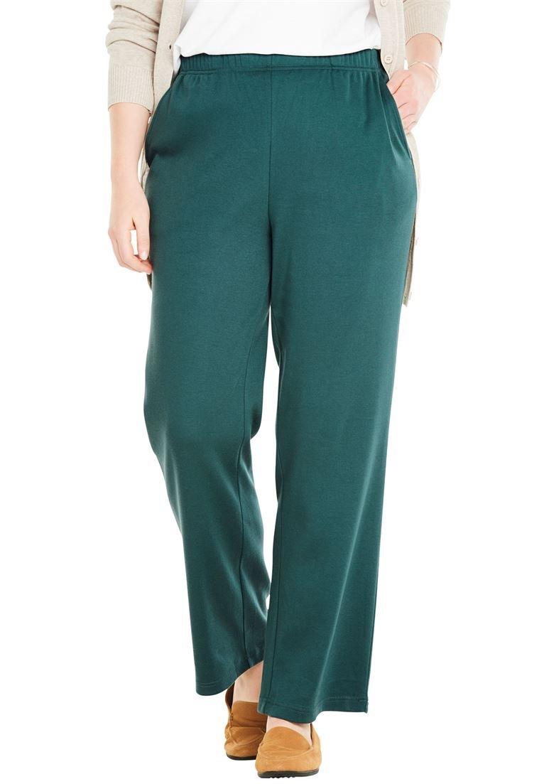 Women's Plus Size 7-Day Knit Petite Wide Leg Pant Dark Pine,6X