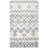 Cheap Safavieh Casablanca Shag Collection CSB806A Handmade Ivory and Blue Premium Wool & Cotton Area Rug (3′ x 5′)
