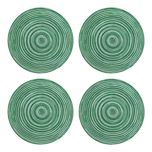 (Topotdor Round Placemats Heat-Resistant Stain Resistant Anti-Skid Washable Polyproplene Table Mats Placemats (Colorful Green, set of 4))