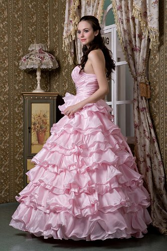 Schicht Abendkleid Rosa Schulter GEORGE Rosa Ballkleid ein BRIDE nqWvwRS